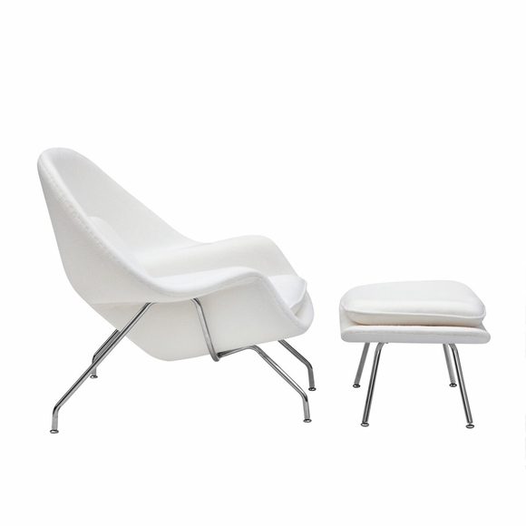 Womb Lounge Chair and Ottoman Wool White