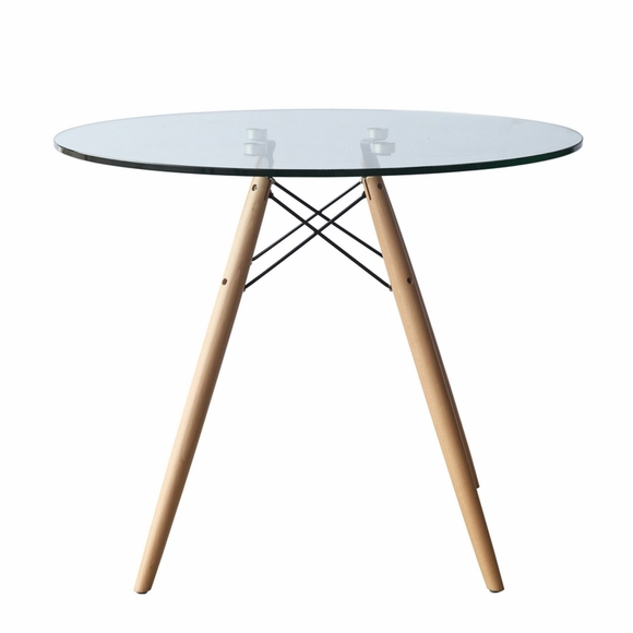 "WoodLeg 29"" Dining Table, Clear"
