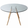 "WoodLeg 42"" Dining Table, Clear"