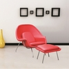Woom Chair and Ottoman in Leather, Red