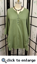 Prairie Cotton Jersey 3/4 Sleeve Split Tunic in Thyme
