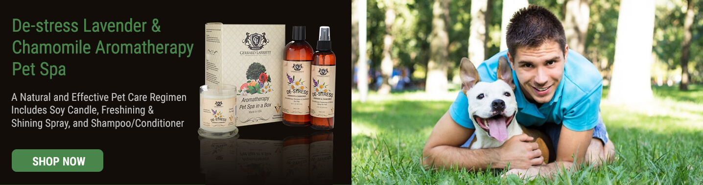 Aromatherapy pet shampoo, spray and candle gift sets