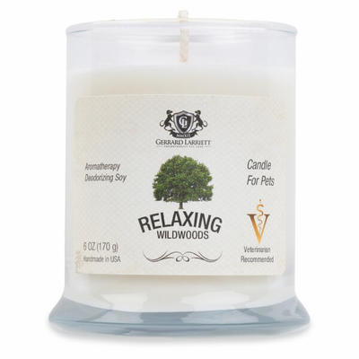 Relaxing Wildwoods Aromatherapy Deodorizing Soy Candle For Pets
