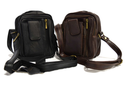 Leather Utility Pouch<br/><b>Color- Black & Brown</b><br/>ITEM# bag-8702