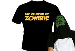 Men's  Ask Me About My Zombie Shirt<br/> <b>Color - Black</b><br/>ITEM# men17524