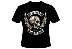 Men's Bad To The Bone Shirt<br/> <b>Color - Black & Orange</b><br/>ITEM# men15062