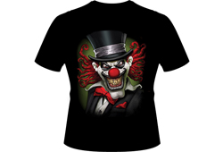 Men's Evil Clown With Top Hat Shirt<br/> <b>Color - Black</b><br/>ITEM# men19402D0