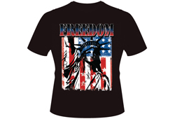 Men's Freedom Statue of Liberty Shirt<br/> <b>Color - Black, Grey & Distressed Brown</b><br/>ITEM# men18377