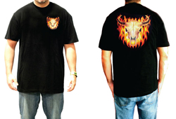 Men's Skeleton Bull Skull In Flames Shirt<br/> <b>Color - Black </b>