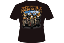 "Men's ""Who Let The Hawgs Out"" Shirt<br/> <b>Color - Black </b><br/>ITEM# men14997"