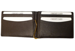 Money Clip W/Credit Card Slots<br/><b>Colors - Black & Brown</b>