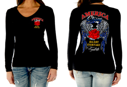 Women's America Strong long sleeve top<br/><b>Available in Black</b><br/>ITEM # 7095