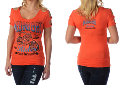 Women's American Made Open Shoulder Twisted Strap Top With Midnight Rider Bike Graphic<br/><b>Colors- Orange & Black</b><br/>ITEM# 7648
