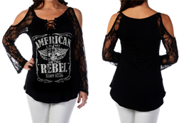Women's American Rebel Bohemian Lace Top<br/><b>Available in Black</b><br/>ITEM # 7653