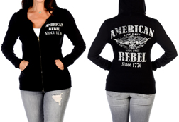 Women's American Rebel Hoodie<br/><b>Available in Black</b><br/>ITEM # 8135
