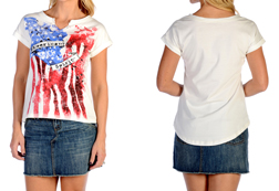Women's American Spirit Short Sleeve Top<br/><b>Available in Ivory</b><br/>ITEM # 7004