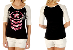 Women's Angelic Stars short sleeve baseball tee<br/><b>Available in Black w/ ivory sleeves</b><br/>ITEM # 7124