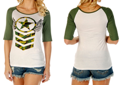 Women's Angelic Stars short sleeve baseball tee<br/><b>Available in Ivory w/ green sleeves</b><br/>ITEM # 7125