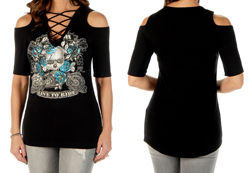 Women's Bikers, Booze, Babes Short Sleeve Open Shoulder Top w/ Lace up front<br/><b>Available in Black</b><br/>ITEM # 7670