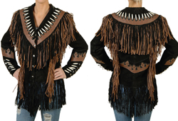 Women's Black & Brown Suede Detailed Jacket<br/>ITEM# 9711