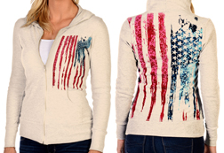 Women's Bleeding Old Glory Hoodie<br/><b>Available in Cream</b><br/>ITEM # 8133