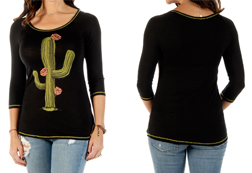 Women's Blushing Cactus Long Sleeve Top<br/><b>Available in Black</b><br/>ITEM # 7120