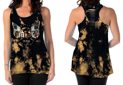Women's Born to Vintage loose fit tank top w/ laser cut back<br/><b>Available in Black/Brown Mineral Wash</b><br/>ITEM # 7775