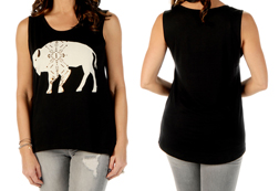 Women's Buffalo Roam Sleeveless Top<br/><b>Available in Black & Olive</b><br/>ITEM # 7521
