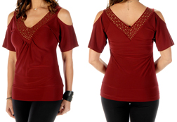 Women's Burgundy Sasha top w/ bronze stones<br/><b>Available in Burgundy</b><br/>ITEM # 7644