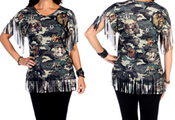 Women's Camo Emblems Fringe Top<br/><b>Available in Camo</b><br/>ITEM # 7835