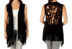 Women's Copper Steer Fringed Vest<br/><b>Available in Black</b><br/>ITEM # 8367