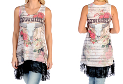Women's Cowgirl Roses Tank Dress with Lace Hem<br/>ITEM # 7565