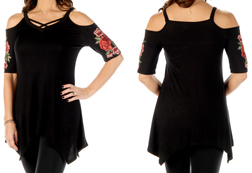 Women's Crossed Roses cold-shoulder sharktail<br/><b>Available in Black</b><br/>ITEM # 7639