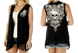 Women's Devilish by Nature fringed cardigan vest<br/><b>Available in Black</b><br/>ITEM # 8367