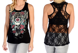 Women's Devilish Lace Back Tank Top<br/><b>Available in Black</b><br/>ITEM # 7582