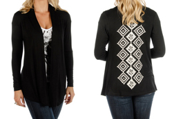 Women's Diamond Column Cardigan<br/><b>Available in Black</b><br/>ITEM #8360