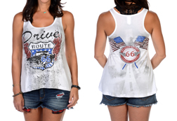 Women's Drive Route 66 Tank w/ American Flags<br/><b>Available in White</b><br/>ITEM # 7543