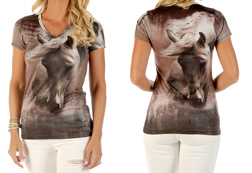 Women's Dusty Trails short sleeve v-neck top<br/><b>Available in Dust</b><br/>ITEM # 7427