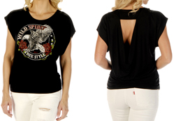 Women's Elegant Wild Spirit loose fit top w/ open back<br/><b>Available in Black</b><br/>ITEM # 7630