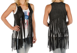 Women's Faux Suede Fringe Hipster Vest <br/><b>Available in Black & Tan</b><br/>ITEM # 8371