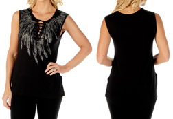 Women's Feather Collar Lace up Sleeveless Top<br/><b>Available in Black</b><br/>ITEM # 7571