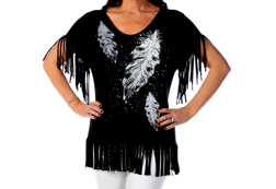 Women's Feather Drop loose fit fringe top<br/><b>Available in Black</b><br/>ITEM # 7869