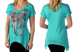Women's Feathers and Conchos Mini Sharktail<br/><b>Colors- Mint, Black & Mocha</b><br/>ITEM# 7961