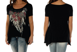 Women's Feathers and Conchos Mini Sharktail<br/><b>Colors- Black</b><br/>ITEM# 7961