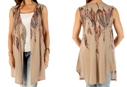 Women's Feathers & Beads Vest Cardigan <br/><b>Available in Dark Mocha</b><br/>ITEM # 8370