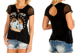 Women's Flaming Wild Child lace-up top w/ short mesh sleeves<br/><b>Available in Black</b><br/>ITEM # 7056