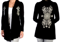 Women's Floral Burst Cardigan<br/><b>Available in Black & Burgundy</b><br/>ITEM # 8361