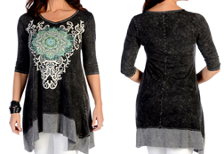 Women's Floral Medallion Mineral Wash Sharktail<br/><b>Available in Grey</b><br/>ITEM # 7929