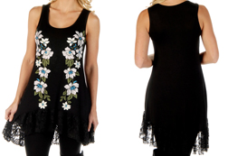 Women's Flowering Glory Tank Dress w/ Lace Hem.<br/><b>Colors- Black</b><br/>ITEM# 7563