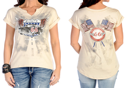 Women's Flying Route 66 Top<br/><b>Available in Black & Cream</b><br/>ITEM # 7009